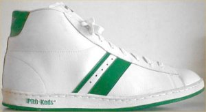 PRO-Keds two-stripe high-top in white leather with green stripes and green outsole