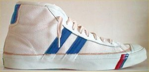 PRO-Keds two-stripe high-top in white mesh with blue stripes