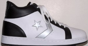 Converse Pro Leather high-top shoe; white with black and silver trim