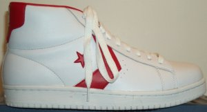 Converse Dr. J Classic high-top shoe; white with red trim