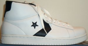 Converse Dr. J Classic high-top shoe; white with blue trim