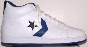 Converse Pro Leather high-top shoe; white with blue and black trim