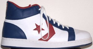 Converse Pro Leather high-top shoe; white with blue and red trim