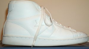 Converse Pro Leather high-top like those worn by Julius Erving when he played; white with white trim