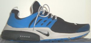 Nike Air Presto running shoe, black with black swoosh and blue Engineered Support Cage