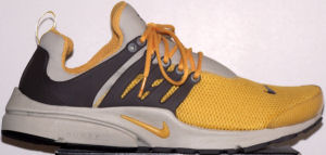 Nike Air Presto Praia iD, yellow with brown and a Duralon outsole