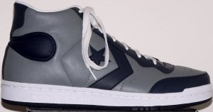 "Converse ""Pro Star"" high-top sneakers in gray with dark blue trim"