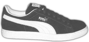 "Puma ""CLYDE"" black suede sneakers with natural formstrip"