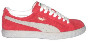 "Puma ""CLYDE"" red suede sneakers with natural formstrip"
