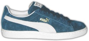"Puma ""CLYDE"" blue suede sneakers with natural formstrip"