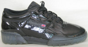 Reebok Workout fitness sneaker: black patent leather
