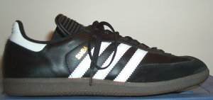 adidas Samba indoor soccer boot, black with white stripes and trim