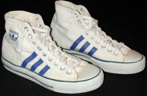 adidas Shooting Star white canvas basketball high-top with blue stripes and Trefoil ankle patch