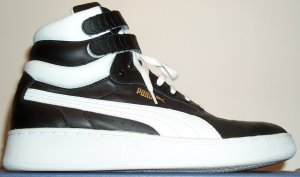 Puma Sky 2 high-top basketball sneaker: black with white Puma formstrip and trim