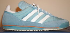 The adidas SL72 shoe in Argentinian Blue with white wtripes and trim