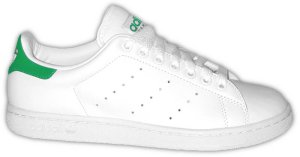 The adidas Stan Smith tennis shoe, with green trim