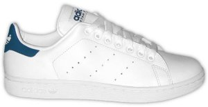 The adidas Stan Smith tennis shoe, white leather with dark blue trim