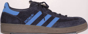 adidas Spezial retro handball shoe, dark blue with light blue stripes