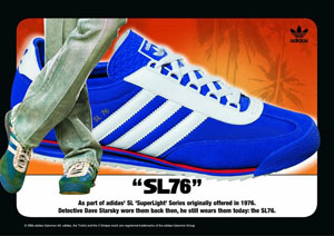 The adidas SL76 shoe in red, white, and blue: adidas ad run in 2004