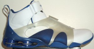 Nike Shox Stunner athletic shoe, white with blue trim and translucent spat strap