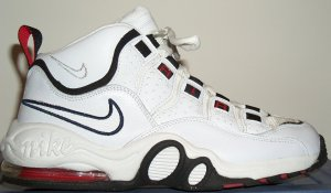 Nike Air Super CB basketball shoe, white with red and black trim