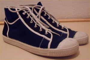 Hungarian dark blue high-top sneakers