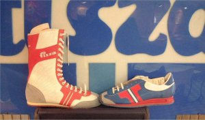 Two pairs of Tisza sneakers from Hungary: probably a boxing shoe and running shoe