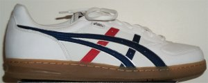ASICS Top Seven shoe: white with blue and red trim