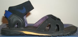 Nike Umpqua sport sandal, predominantly black with blue and yellow trim
