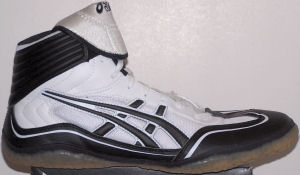 ASICS Unrestrained wrestling shoe, white with black stripes and trim