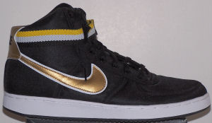 Nike Vandal Supreme sneaker, black canvas, gold and white SWOOSH