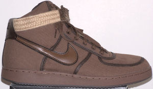 Nike Vandal high-top shoe: all brown with lighter brown ankle strap
