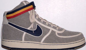 Nike Vandal high-top shoe: khaki with (blue and white) SWOOSH, (blue, yellow, and red) ankle strap