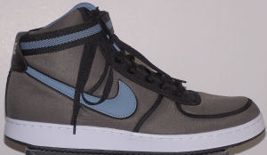 Nike Vandal high-top shoe: clay brown with gray and black SWOOSH and ankle strap
