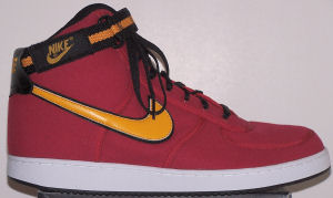 Nike Vandal high-top shoe: red with yellow and black SWOOSH and ankle strap