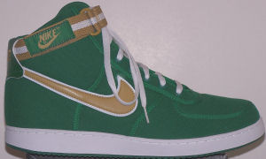 Nike Vandal high-top shoe: green with tan and white SWOOSH and ankle strap