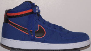 Nike Vandal high-top shoe: blue with black and orange SWOOSH and ankle strap
