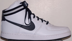 Nike Vandal Leather high-top shoe: white with anthracite SWOOSH, anthracite and gray ankle strap