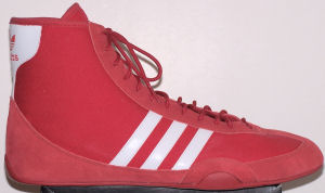 adidas Wrestling Canvas, red with white stripes and trim