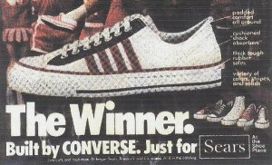 "1970's era Sears ""Winner"" sneaker ad: Built by CONVERSE. Just For Sears."